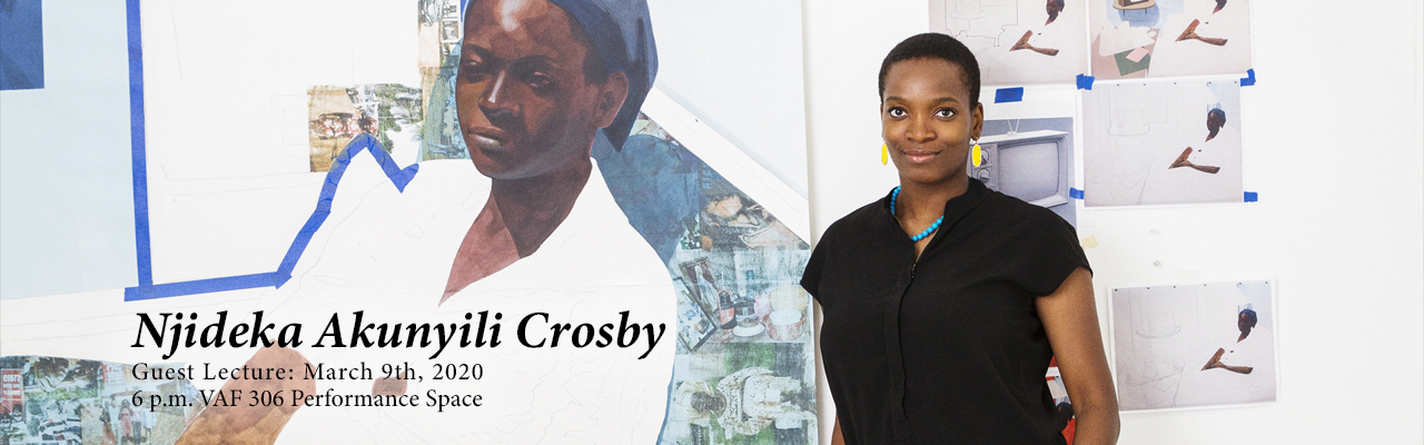 Poster image of Njideka Akunyili Crosby guest lecture on March 9th. Link to event page.