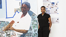 Photo of artist Njideka Akunyili Crosby in her studio