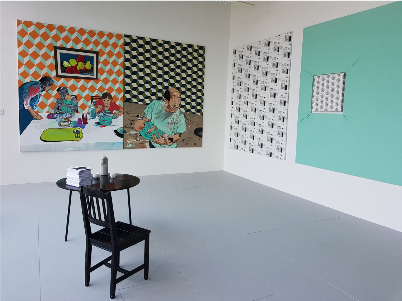 installation photo with multiple paintings on walls
